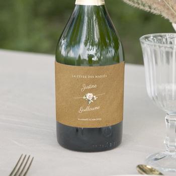 Etiquette bouteille mariage Kraft et Rose, 13 x 8 cm