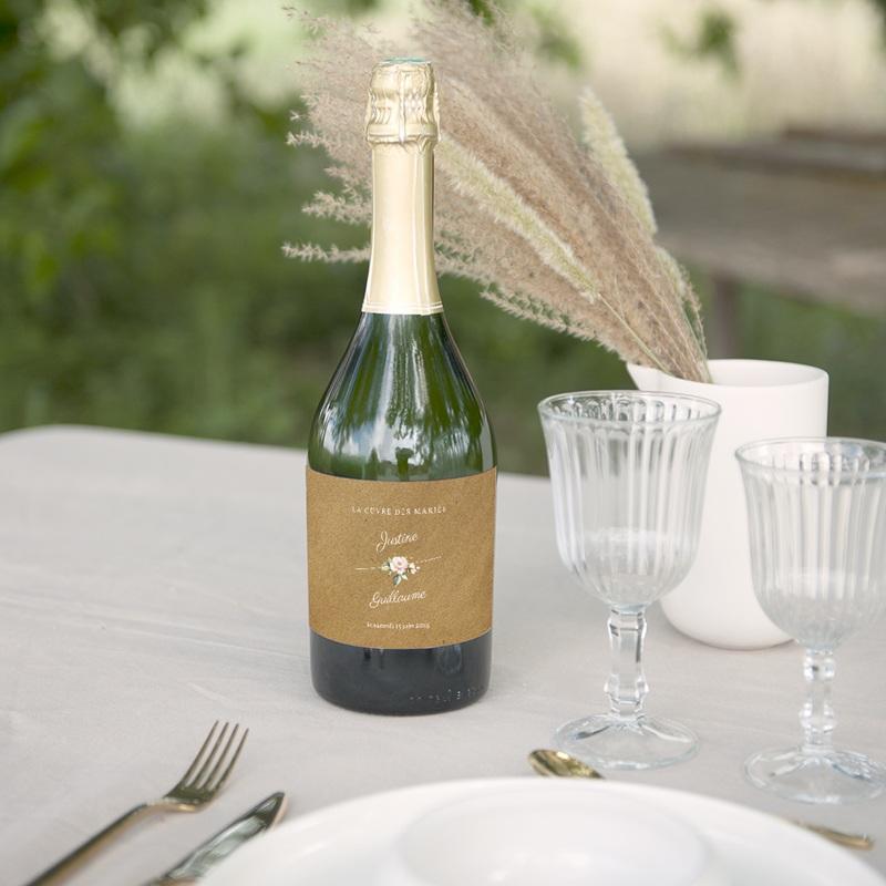Etiquette bouteille mariage Kraft et Rose, 13 x 8 cm gratuit