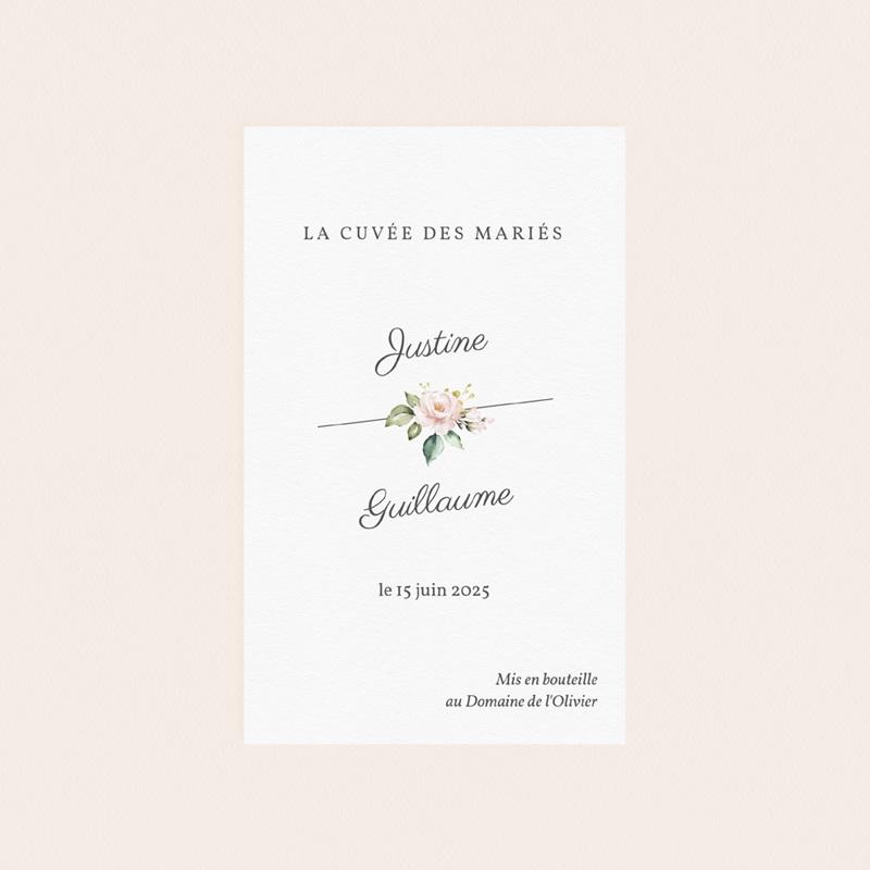 Etiquette bouteille mariage Kraft et Rose, 8 cm x 13 cm pas cher