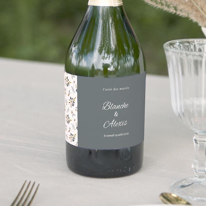 Etiquette bouteille mariage Liberty Gris bleu, lot de 8, 13 x 8 cm