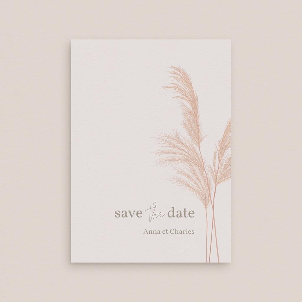 Save-the-date mariage Fleurs de Pampa, Jour J gratuit