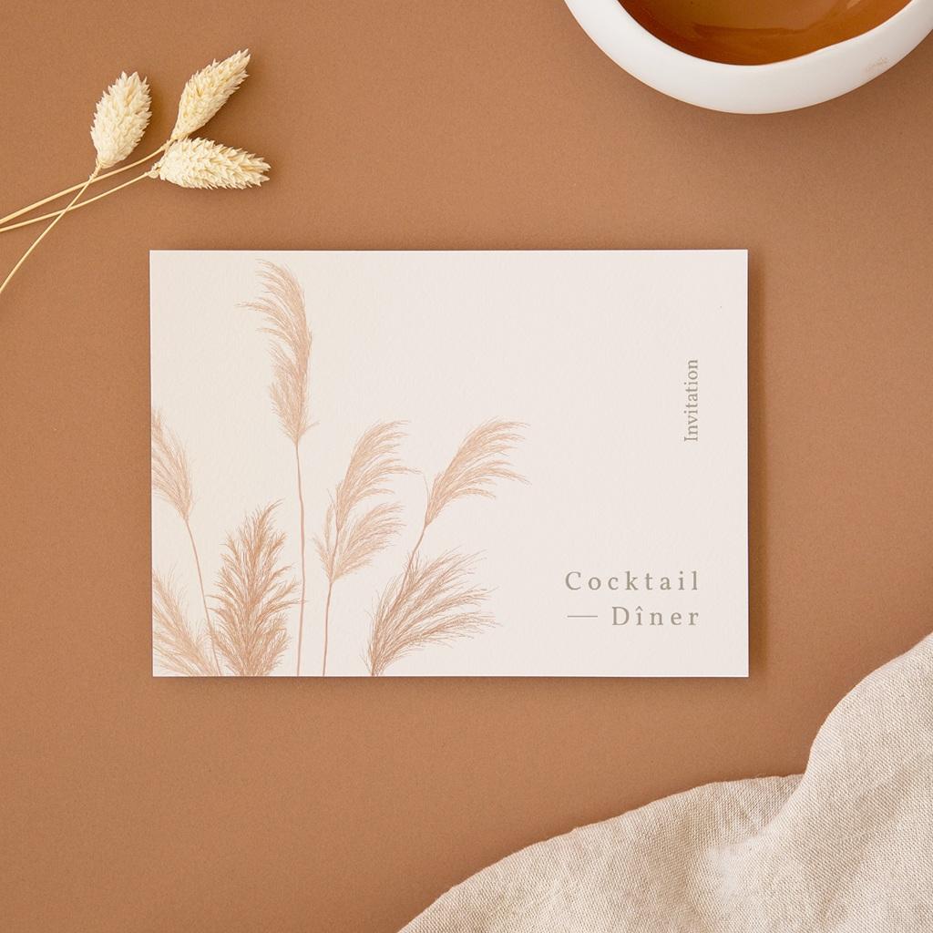 Carte d'invitation mariage Fleurs de Pampa, Cocktail & Dîner