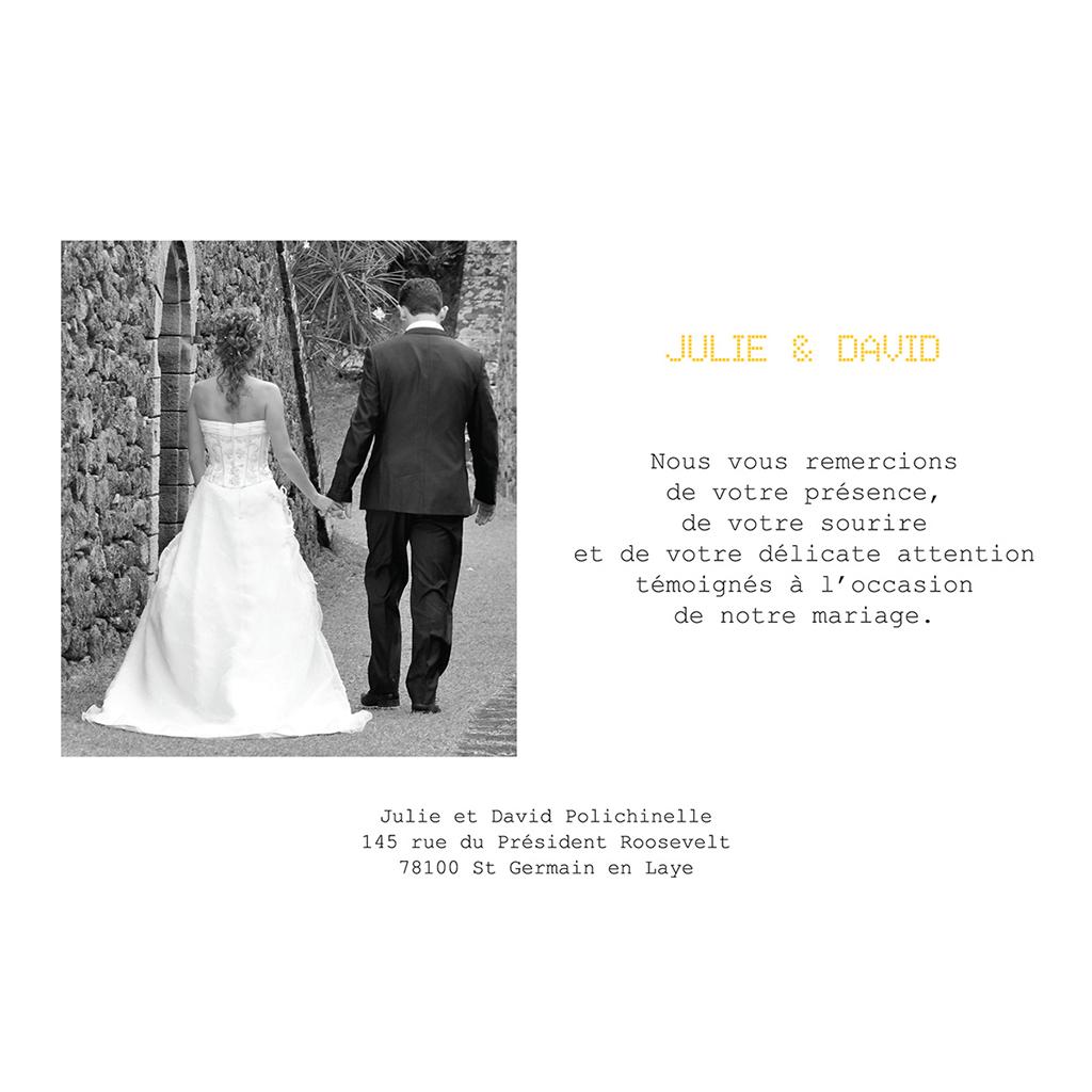 Carte de remerciement mariage New york jaune  gratuit