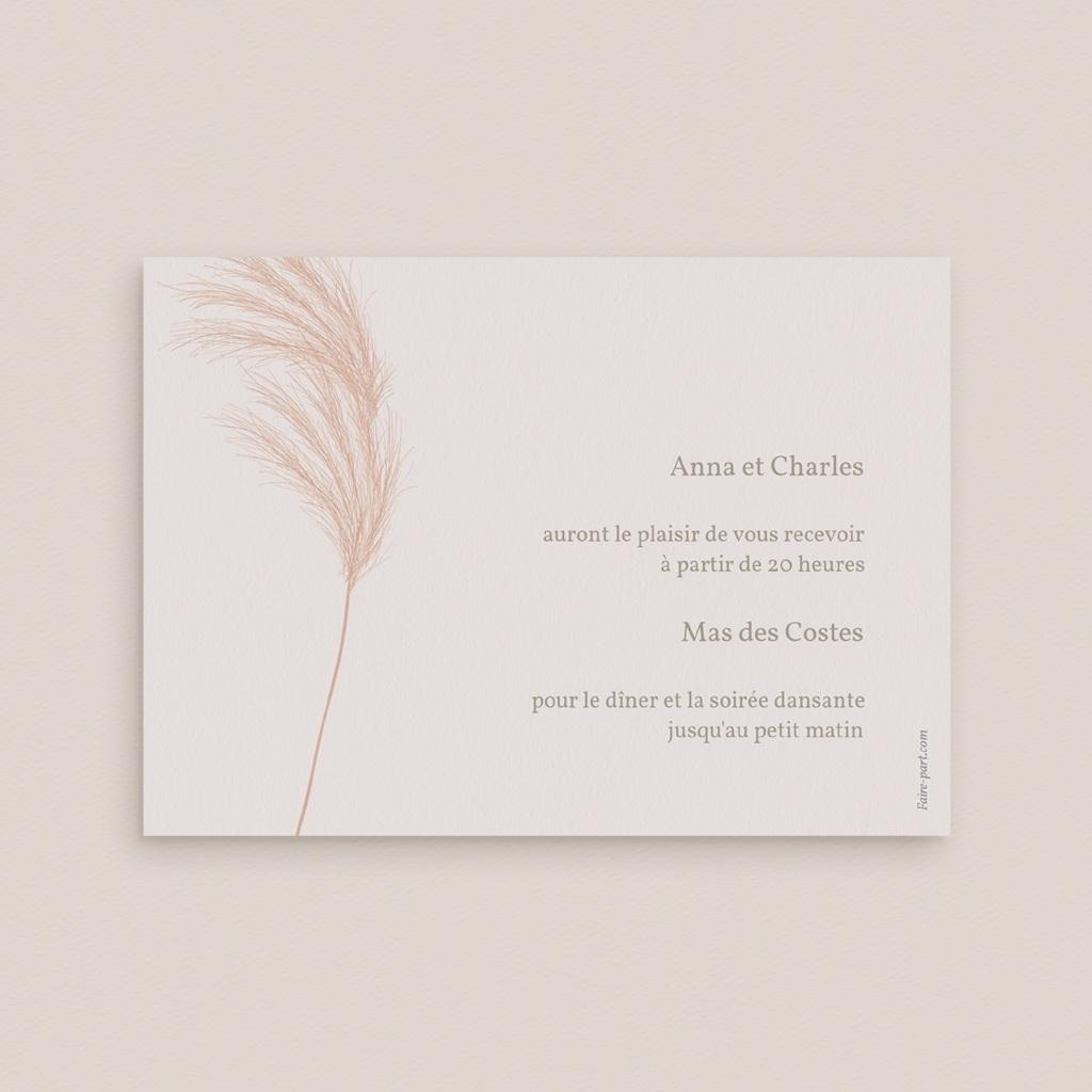Carte d'invitation mariage Fleurs de Pampa, Cocktail & Dîner pas cher