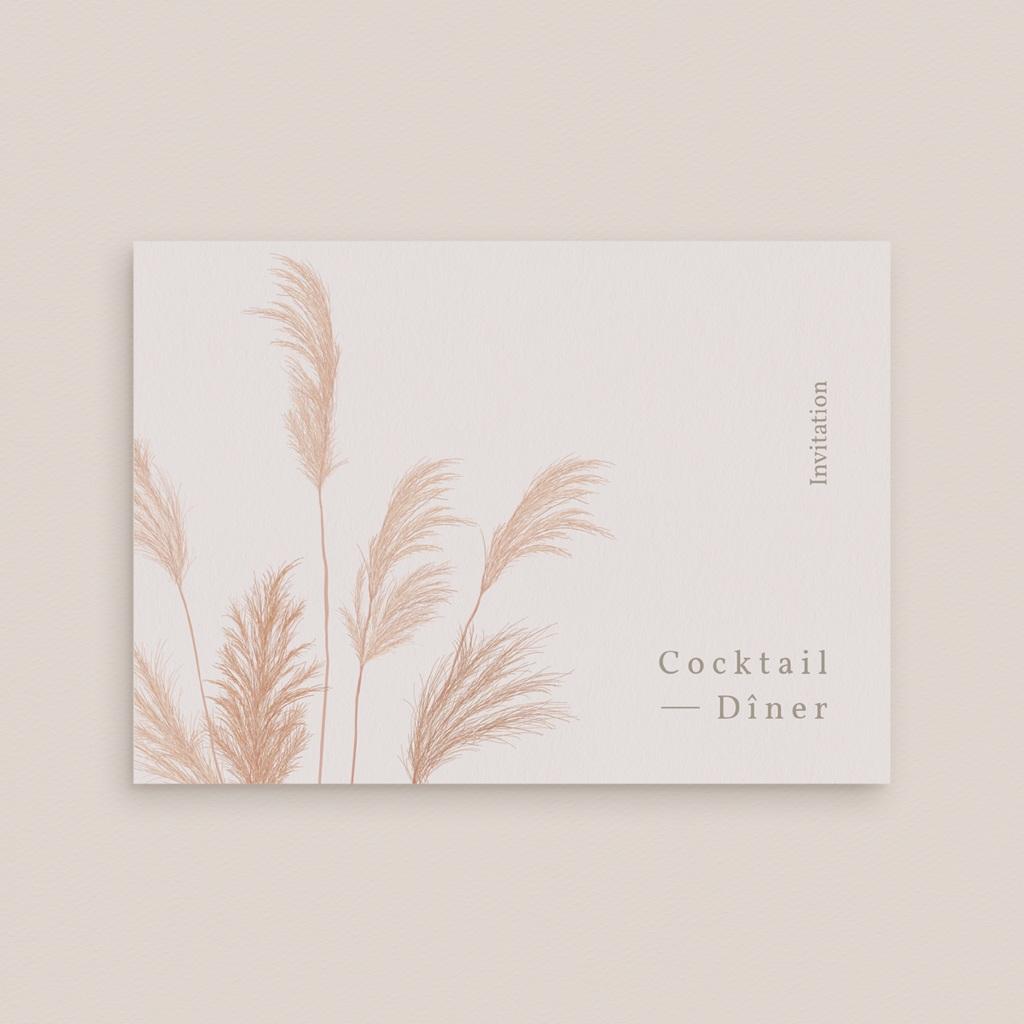 Carte d'invitation mariage Fleurs de Pampa, Cocktail & Dîner gratuit