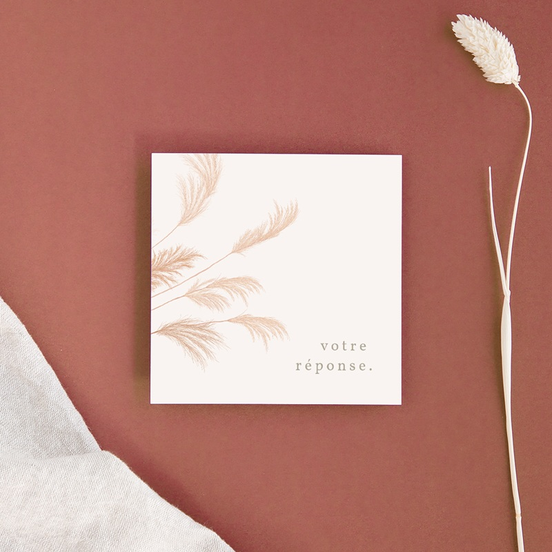 Carton réponse mariage Fleurs de Pampa, Rsvp