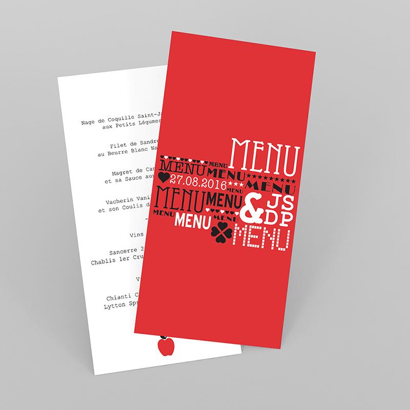 Menu mariage New york rouge