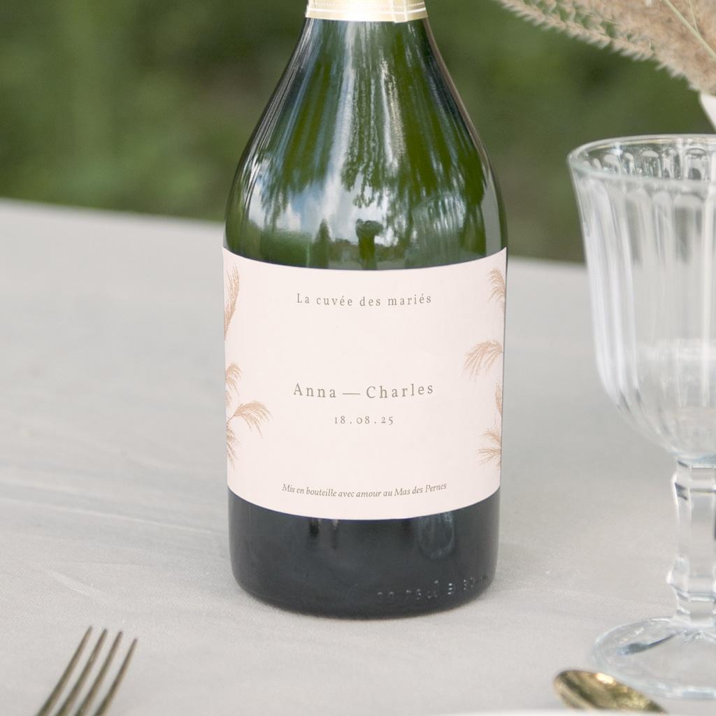 Etiquette bouteille mariage Fleurs de Pampa, Orientation horizontale