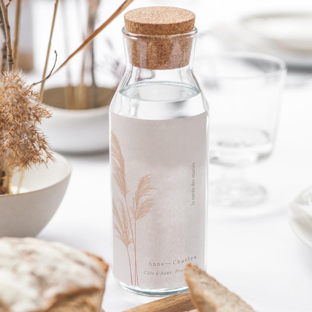 Etiquette bouteille mariage Fleurs de Pampa, Orientation Verticale gratuit
