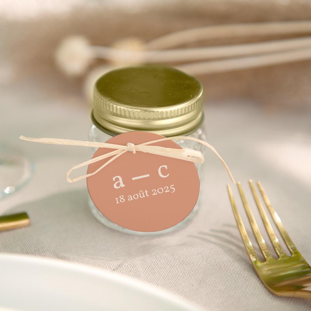 Etiquettes cadeaux mariage Fleurs de Pampa, ronde & perforée