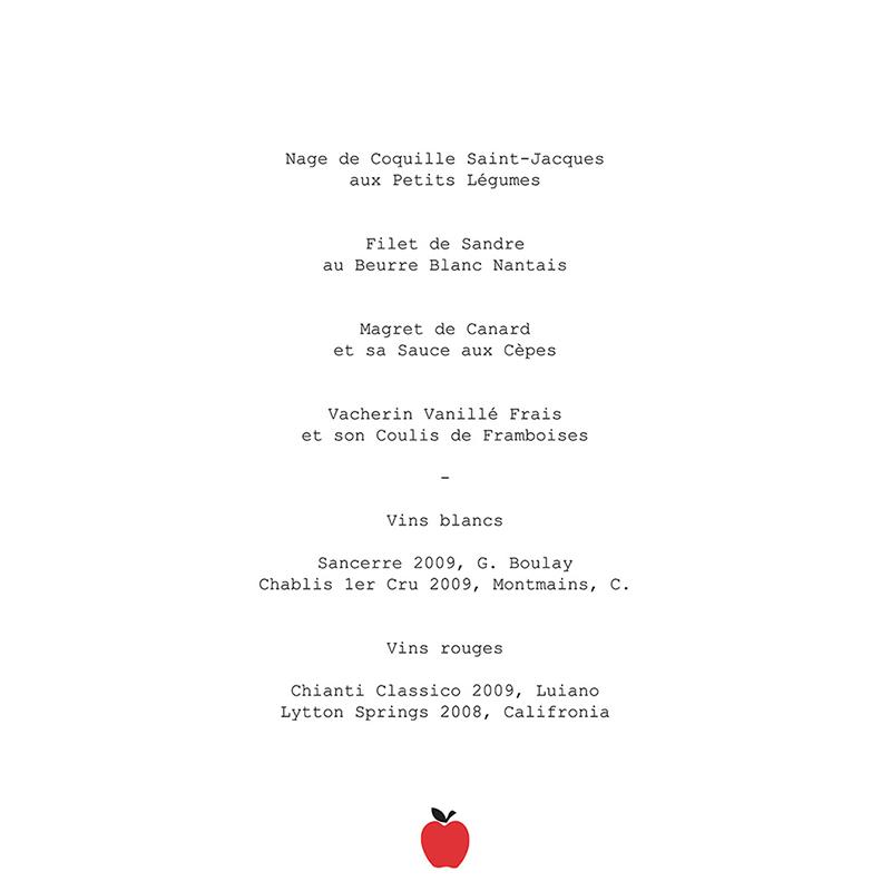Menu mariage New york rouge  gratuit