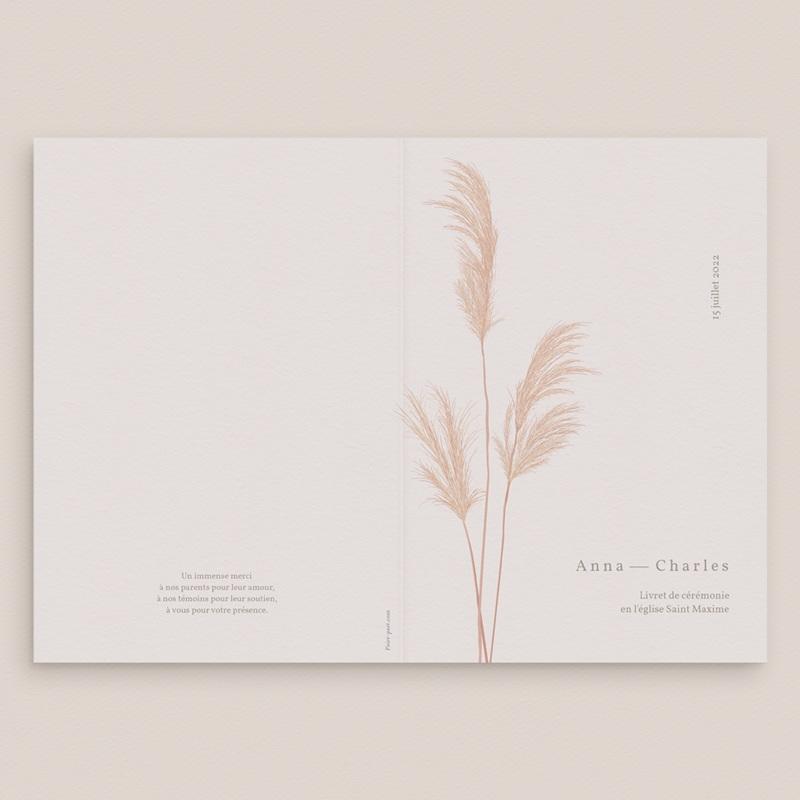 Livret de messe mariage Fleurs de Pampa, 15 x 22 cm gratuit