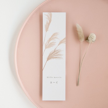 Carte de remerciement mariage Fleurs de Pampa, 5,5 x 21 cm
