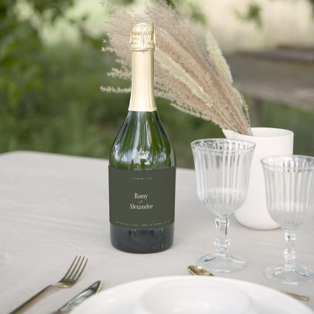Etiquette bouteille mariage Typo & Couleur, Champagne gratuit