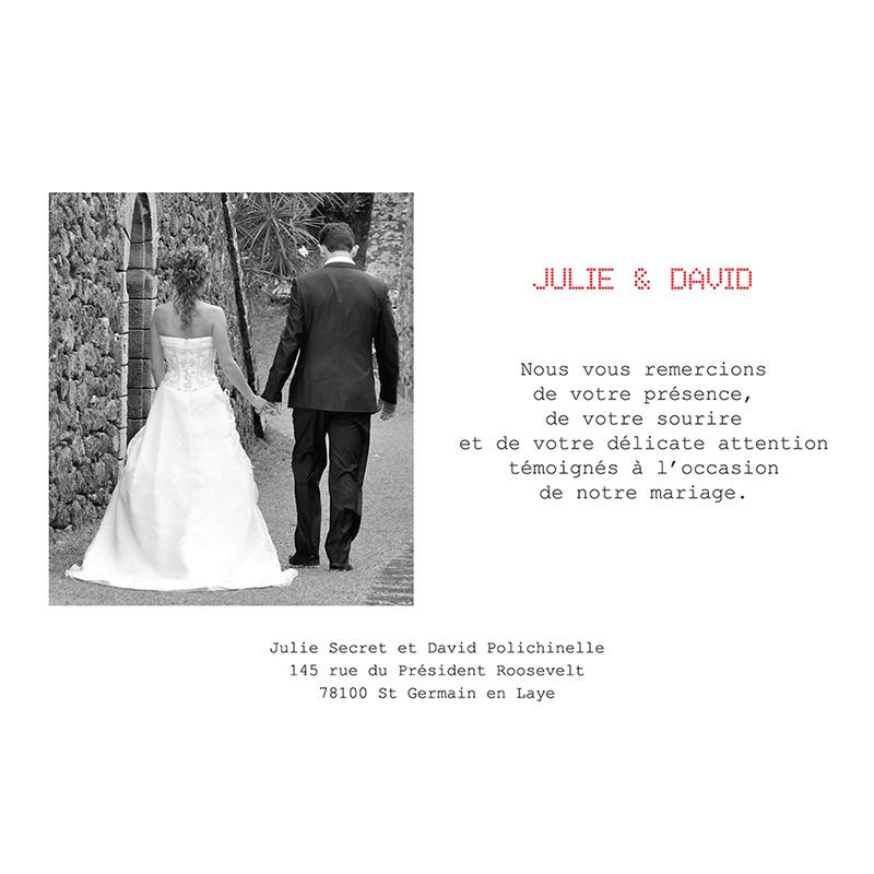 Carte de remerciement mariage New york rouge  gratuit