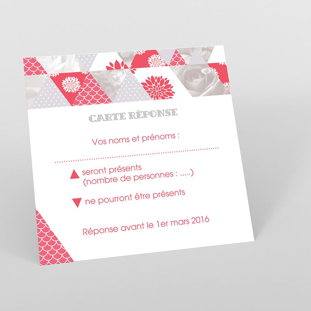 Carton réponse mariage Origami gris rose