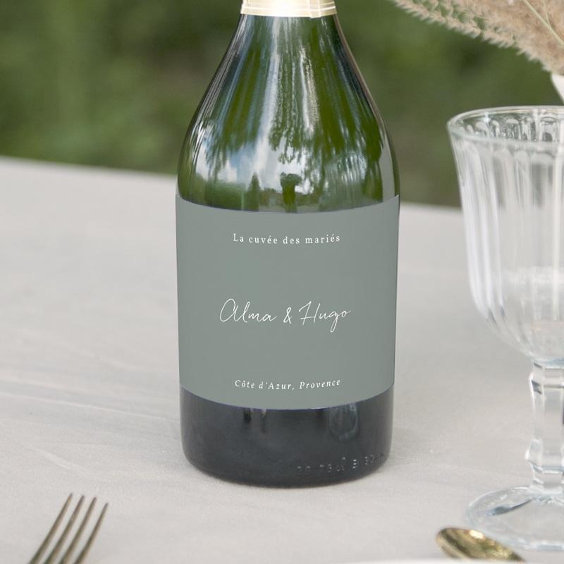 Etiquette bouteille mariage Pastel de Fleurs & Feuillage, 13 x 8 cm