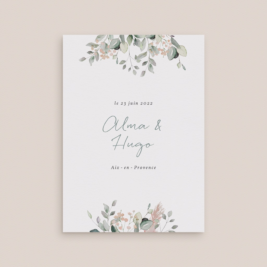 Faire-part de mariage Pastel de Fleurs & Feuillage, 12 x 16,7 cm gratuit