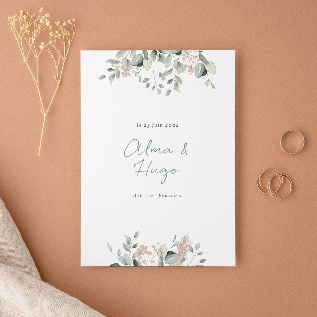 Faire-part de mariage Pastel de Fleurs & Feuillage, 12 x 16,7 cm
