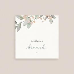 Carte d'invitation mariage Pastel de Fleurs & Feuillage, Brunch gratuit
