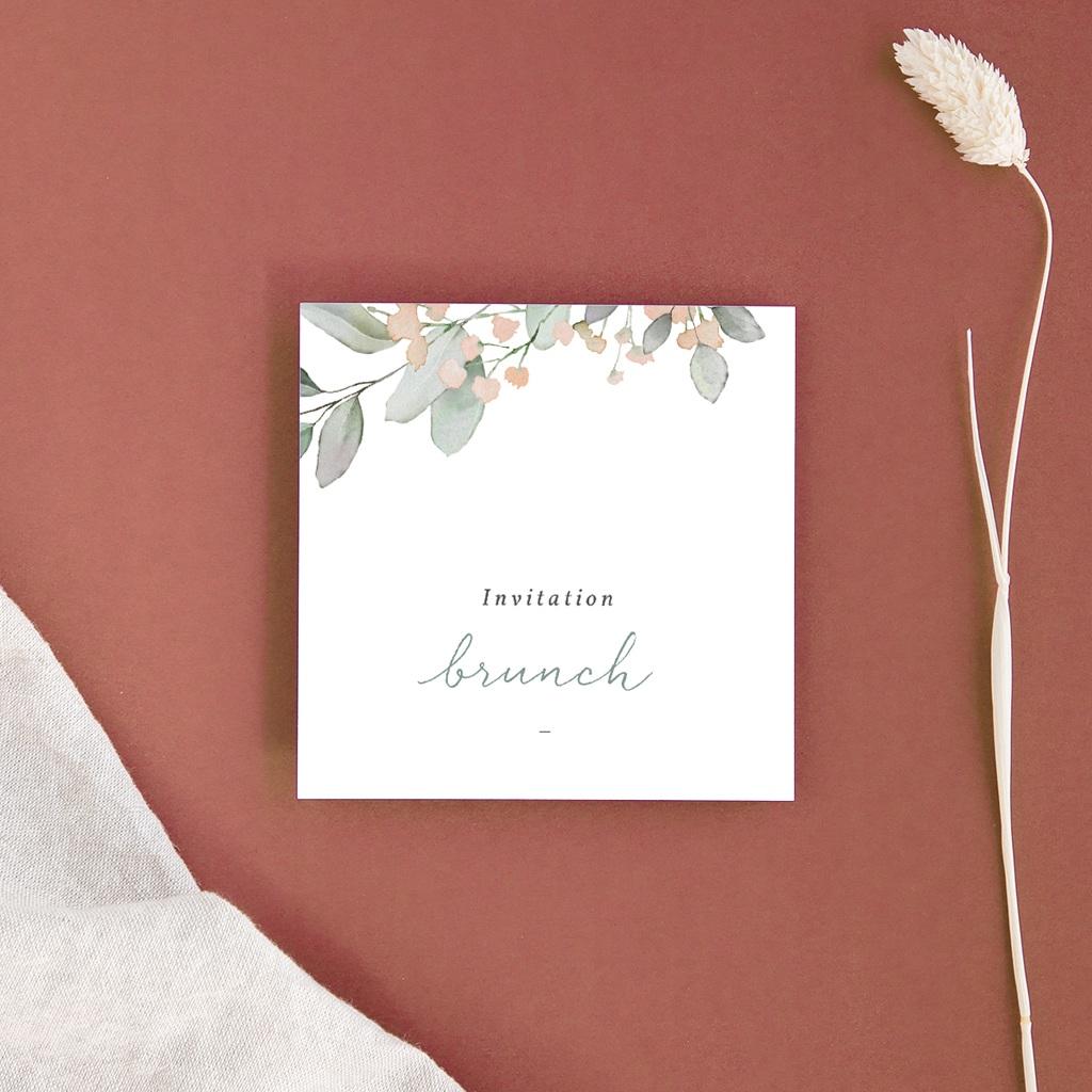 Carte d'invitation mariage Pastel de Fleurs & Feuillage, Brunch