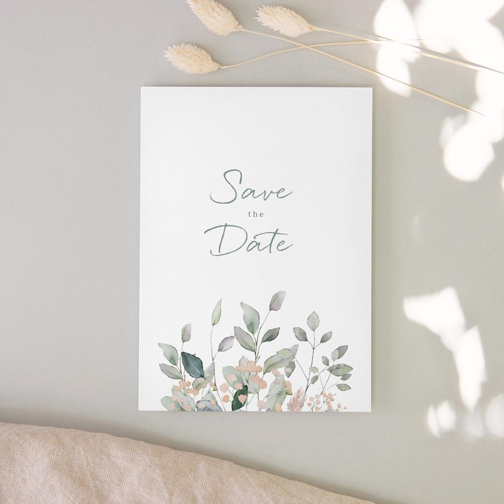Save-the-date mariage Pastel de Fleurs & Feuillage, D-Day