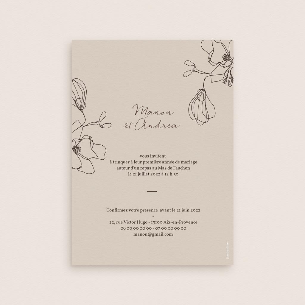 Carte anniversaire de mariage Noces de coton, papier ou de soie, Empreinte Cerisier