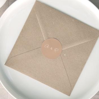 Etiquette enveloppes mariage Arche de roses caramel, Sticker 4,5 cm