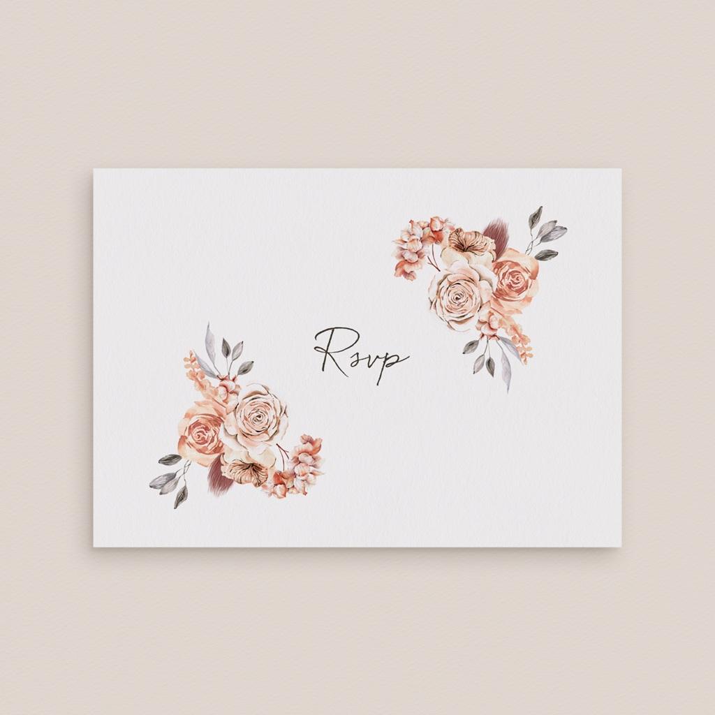 Carton réponse mariage Arche de roses caramel, Rsvp gratuit