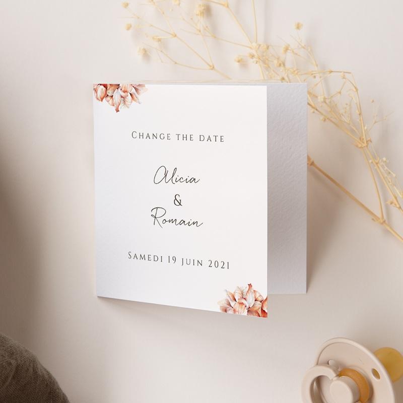 Change the date mariage Arche de roses caramel, Photo, 9,5 x 9.5 cm