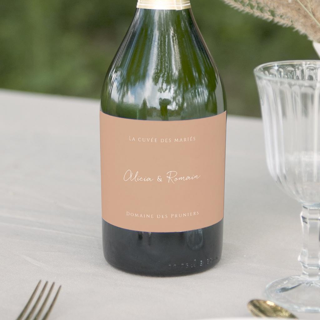 Etiquette bouteille mariage Arche de roses caramel, Champagne