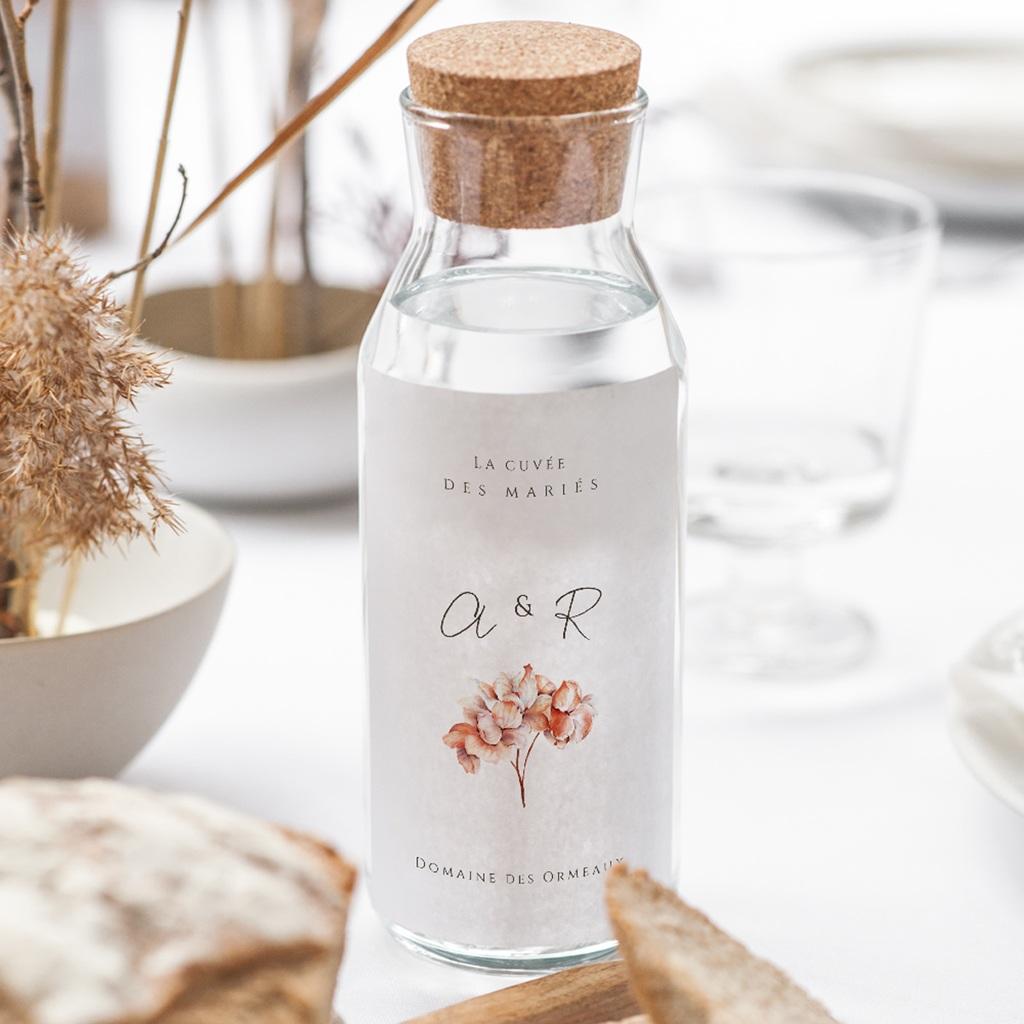 Etiquette bouteille mariage Arche de roses caramel, eau ou vin gratuit