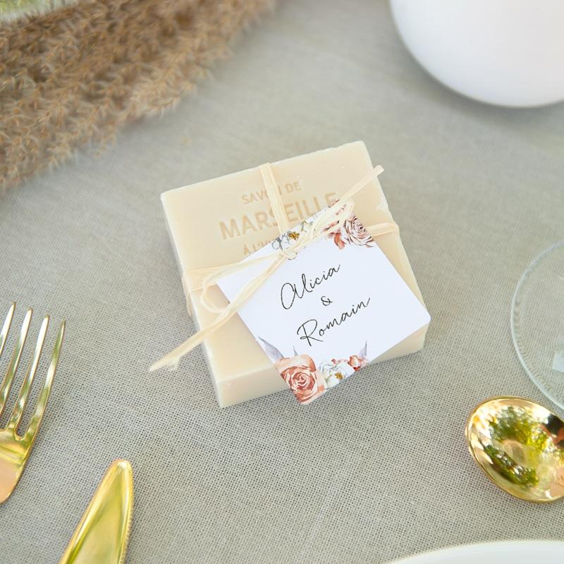 Etiquettes cadeaux mariage Arche de roses caramel, Souvenir Invité pas cher