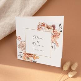 Faire-part de mariage Arche de roses caramel, carré double 14 x 14