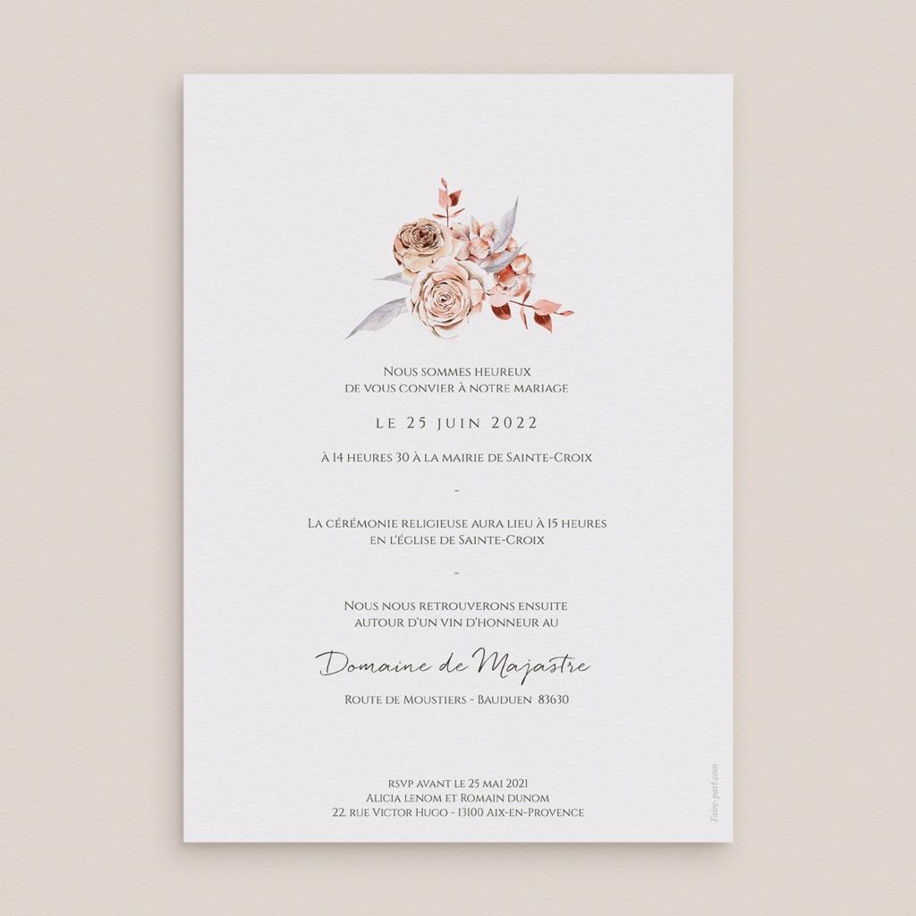 Faire-part de mariage Arche de roses caramel, recto-verso 15 x 21 pas cher