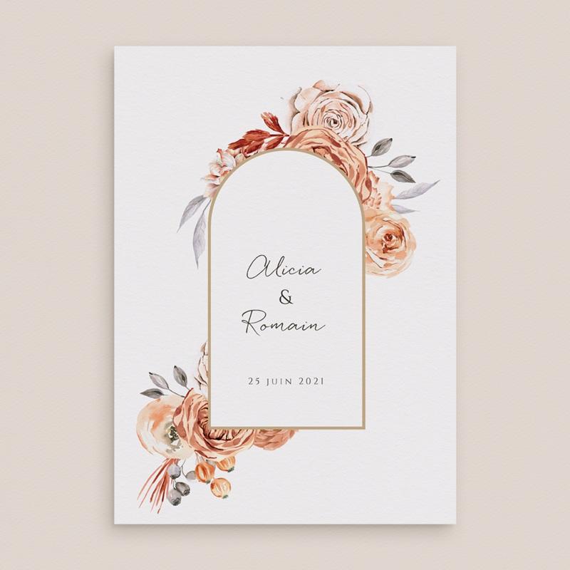 Faire-part de mariage Arche de roses caramel, recto-verso 15 x 21 gratuit