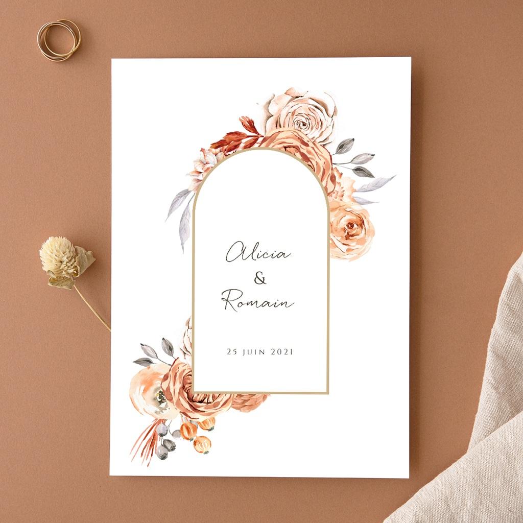 Faire-part de mariage Arche de roses caramel, recto-verso 15 x 21