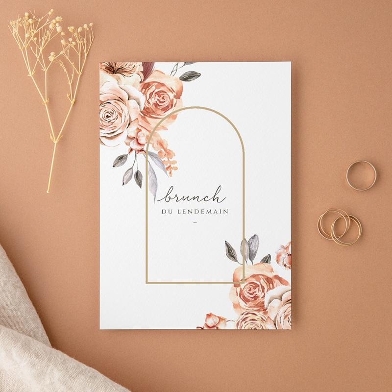 Carte d'invitation mariage Arche de roses caramel, Brunch