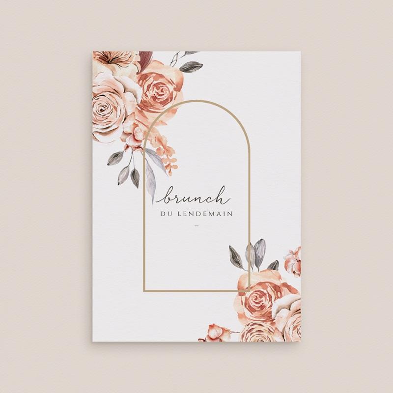Carte d'invitation mariage Arche de roses caramel, Brunch gratuit