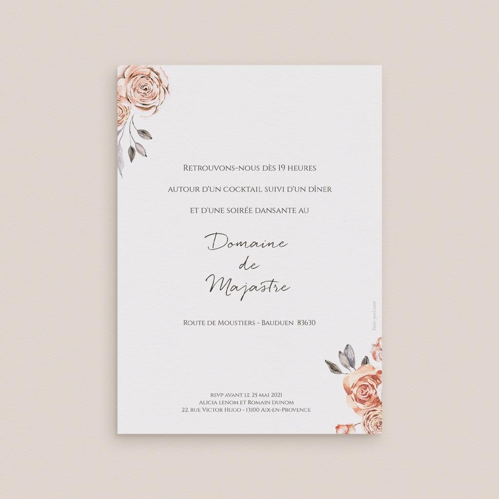 Carte d'invitation mariage Arche de roses caramel, Cocktail et Dîner pas cher