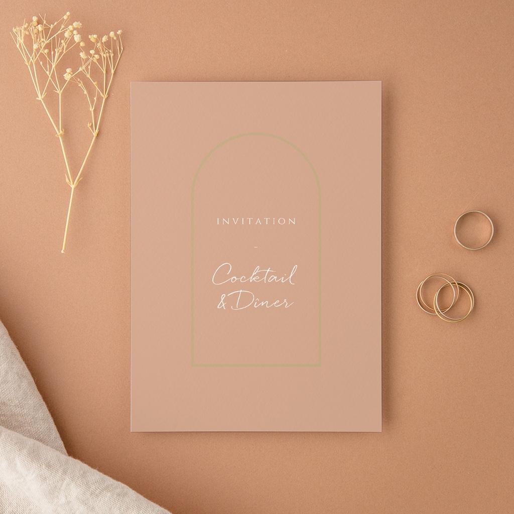 Carte d'invitation mariage Arche de roses caramel, Cocktail et Dîner