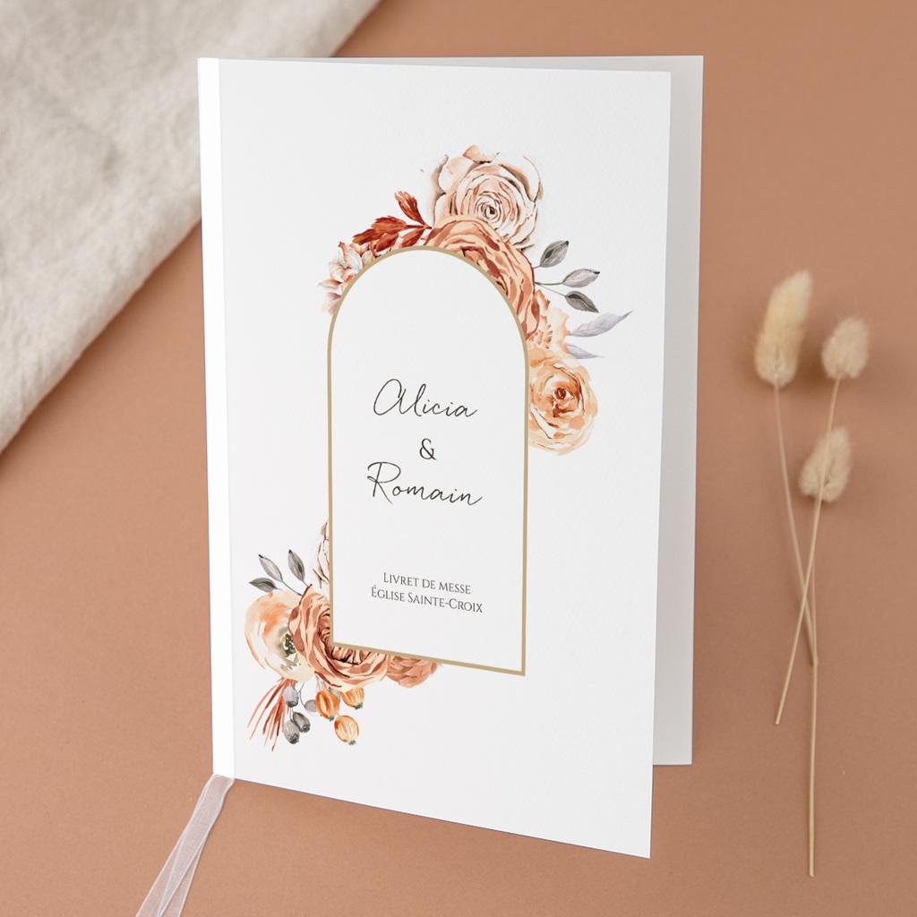 Livret de messe mariage Arche de roses caramel, Couverture