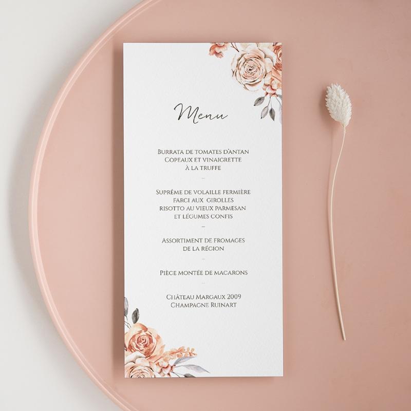 Menu mariage Arche de roses caramel, repas de noces