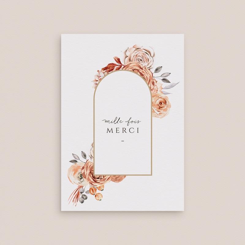 Carte de remerciement Arche de roses caramel, 2 volets 10,5 x 15 cm gratuit
