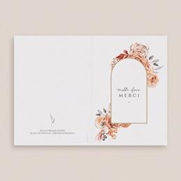 Carte de remerciement Arche de roses caramel, 2 volets 10,5 x 15 cm
