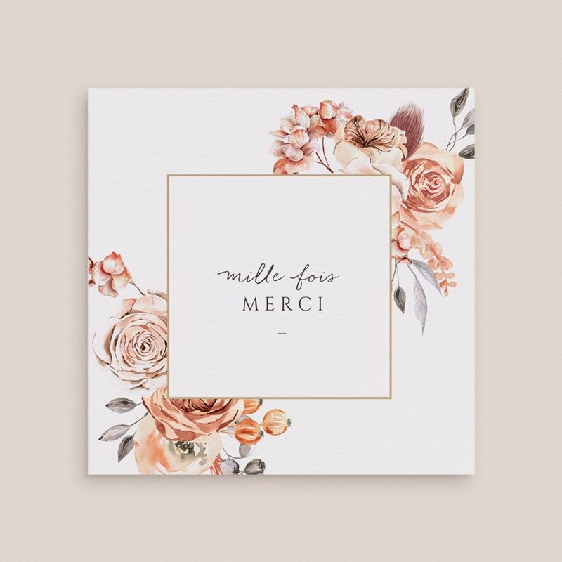 Carte de remerciement mariage Arche de roses caramel, 2 volets 14 x 14