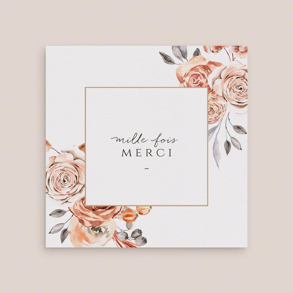 Carte de remerciement mariage Arche de roses caramel, photo 14 x 14 gratuit