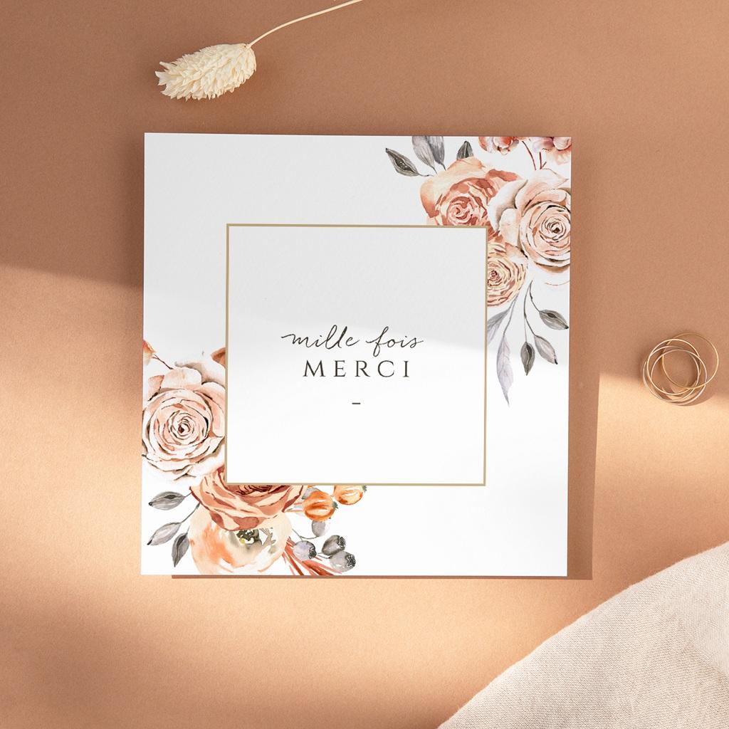 Carte de remerciement mariage Arche de roses caramel, photo 14 x 14