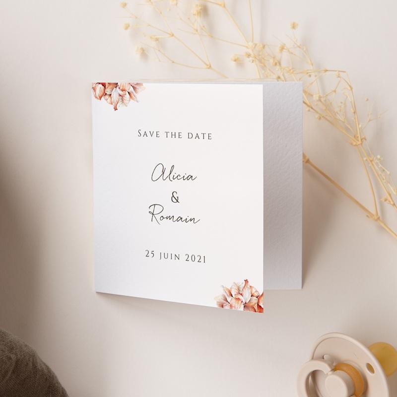 Save-the-date mariage Arche de roses caramel, 2 volets, Photo