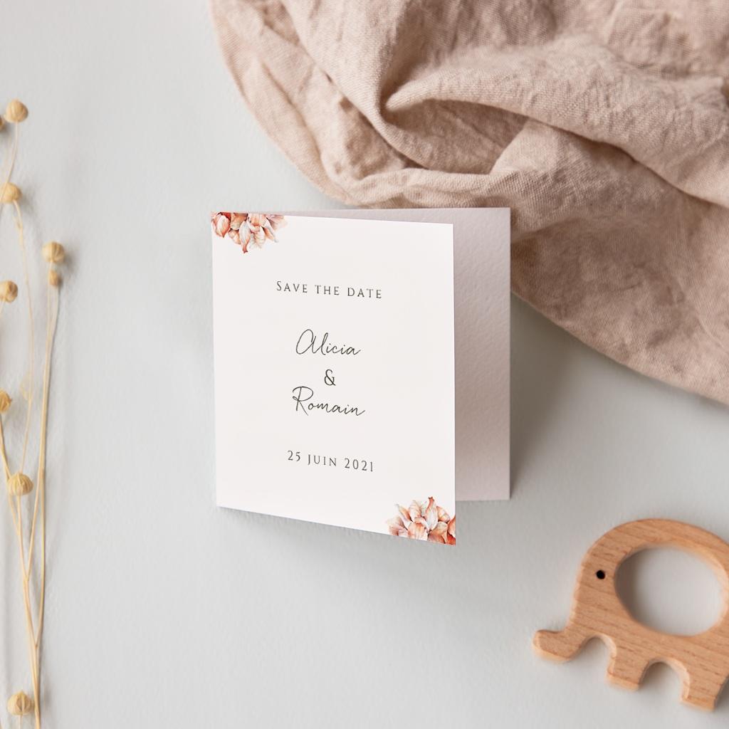 Save-the-date mariage Arche de roses caramel, 2 volets, Photo pas cher